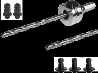 Schnellwechselaufnahme (komplett) SDS Plus-inkl. HSS und HM Zentrierbohrer und Adapter (2x klein / 3