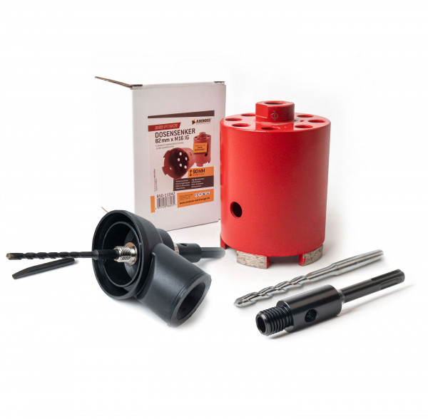 Dosensenker Red Force - 82 mm - SDS-Plus Set mit Absaugung