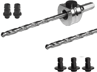 Schnellwechselaufnahme (komplett) 6kant 8,5mm-inkl. HSS und HM Zentrierbohrer und Adapter (2x klein