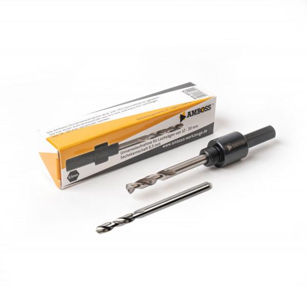 Aufnahme 6kant Schaft 14-30mm Ø11mm inkl. HSS + HSS Cobalt Zentrierbohrer