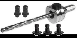 Schnellwechselaufnahme (komplett) 6kant Schaft Ø8,5 mm-inkl. HSS Zentrierbohrer und Adapter (2x klei