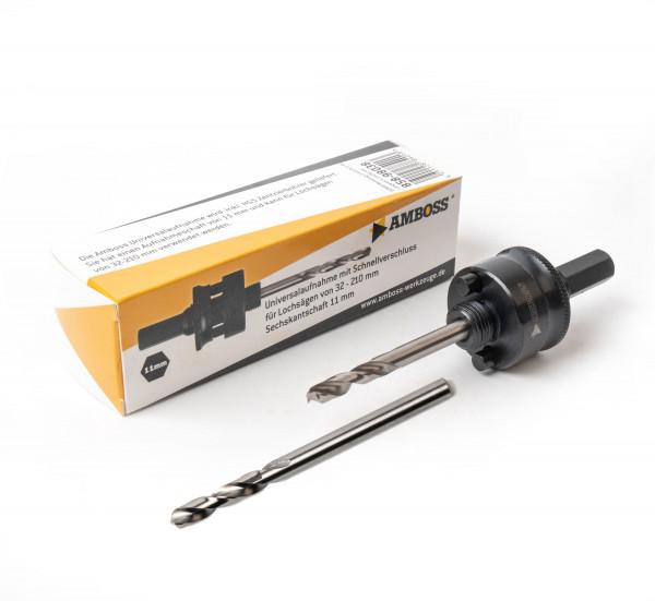 Aufnahme 6kant Schaft 32-210mm Ø11 mm inkl. HSS + HSS Cobalt Zentrierbohrer